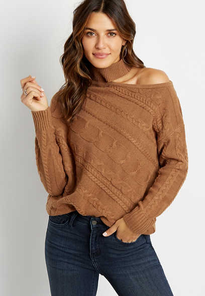 Cable Knit Mock Neck Shoulder Cut Out Pullover Sweater