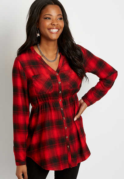 Red Plaid Super Soft Button Down Babydoll Tunic Shirt