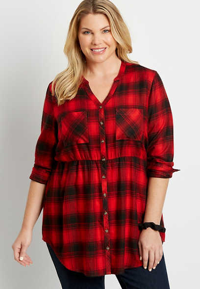 Plus Size Red Plaid Super Soft Button Down Babydoll Tunic Shirt