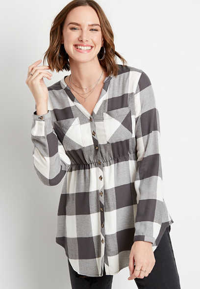 Buffalo Plaid Super Soft Button Down Babydoll Tunic Shirt