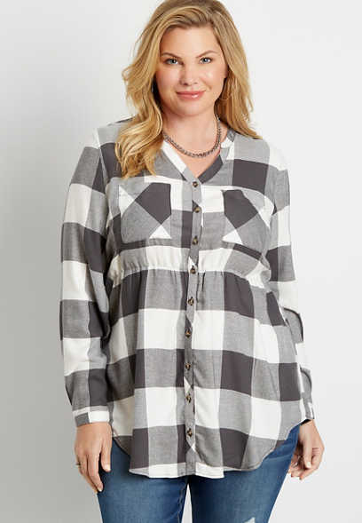 Plus Size Buffalo Plaid Super Soft Button Down Babydoll Tunic Shirt