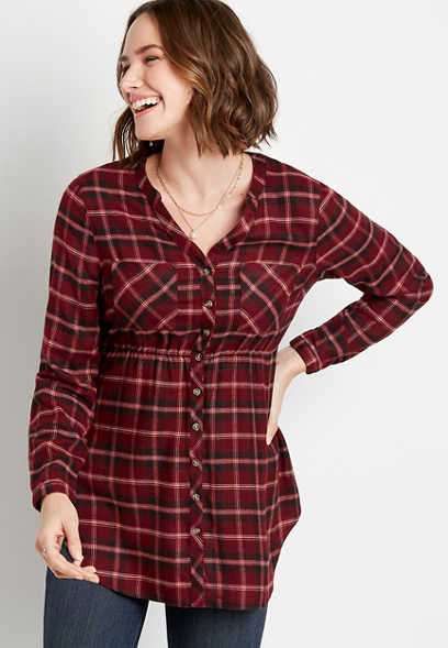 Berry Plaid Super Soft Button Down Babydoll Tunic Shirt
