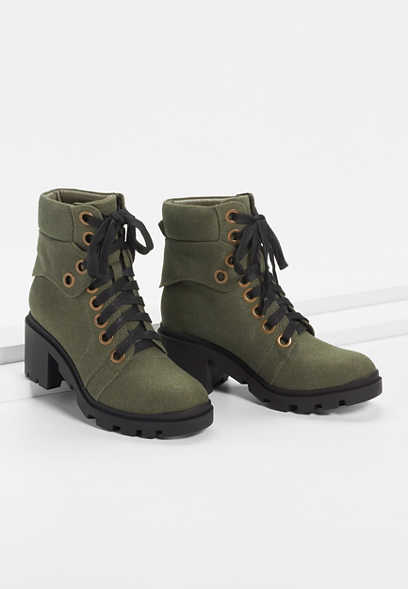 Colby Olive Eyelet Lace Up Hiker Boot