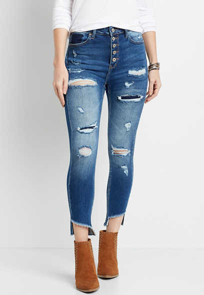 KanCan™ High Rise Destructed Button Fly Skinny Ankle Jean