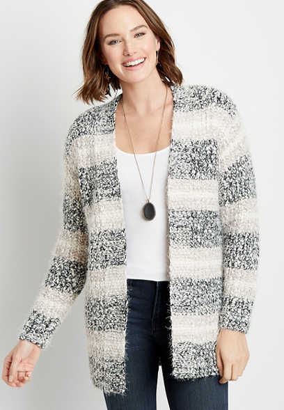 Gray Stripe Cozy Open Front Cardigan