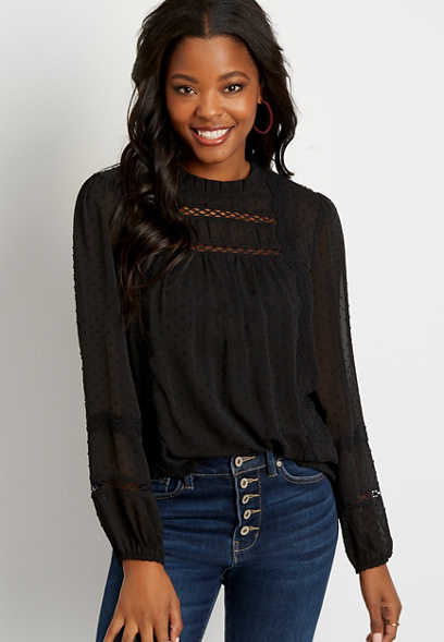 Black Clip Dot Crochet Trim Peasant Top
