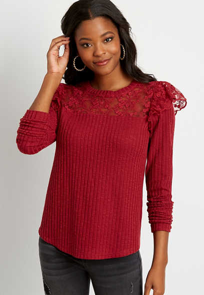 Solid Lace Flutter Long Sleeve Tee