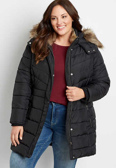 Plus Size Black Puffer Faux Fur Trim Hooded Outerwear Jacket