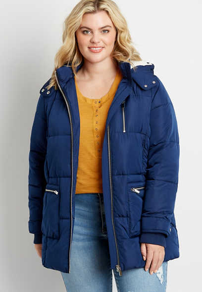 Plus Size Blue Sherpa Lined Hooded Puffer Outerwear Jacket
