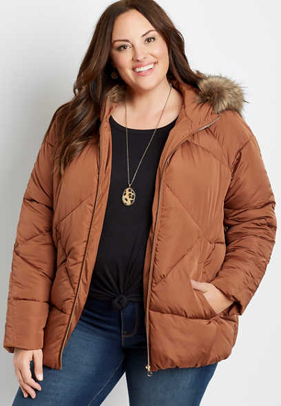 Plus Size Orange Puffer Faux Fur Trim Short Hooded Outerwear Jacket