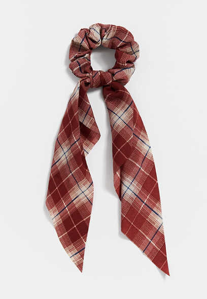 Burgundy Plaid Scrunchie Scarf