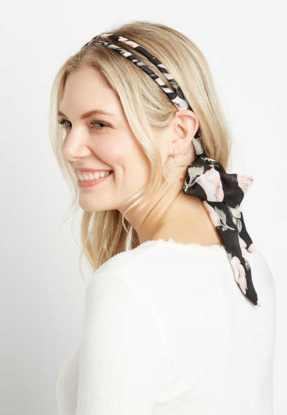 Black Floral Tie Back Headband