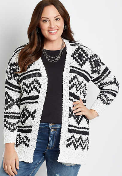 Plus Size Patterned Cozy Open Front Cardigan