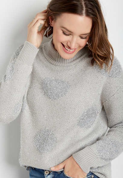 Gray Metallic Tinsel Dot Mock Neck Pullover Sweater
