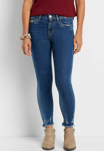 Vervet™ Medium Wash Fray Hem Skinny Ankle Jean