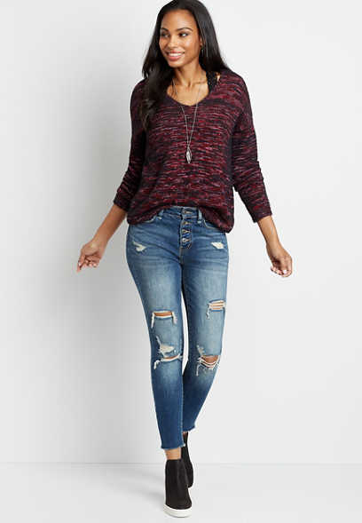 Vervet™ Dark Destructed Button Fly Skinny Jean