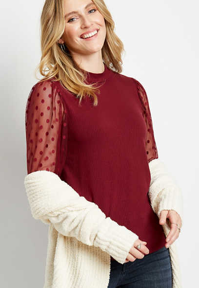 Red Sheer Polka Dot Sleeve Mock Neck Top