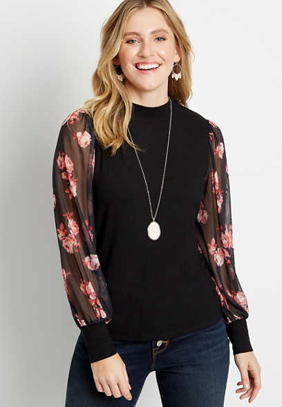 Black Sheer Floral Sleeve Mock Neck Top