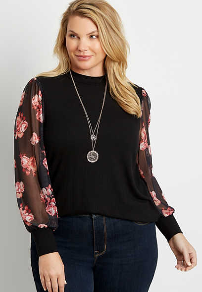 Plus Size Black Sheer Floral Sleeve Mock Neck Top