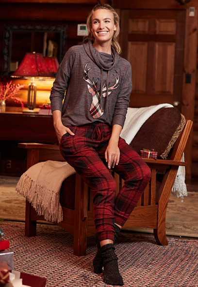 Red Buffalo Plaid Super Soft Cozy Jogger Pant