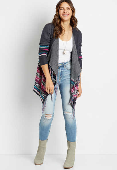 Gray Fair Isle Fringe Trim Open Front Cardigan