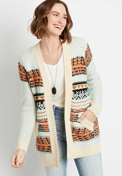 Fair Isle Open Front Pocket Cardigan