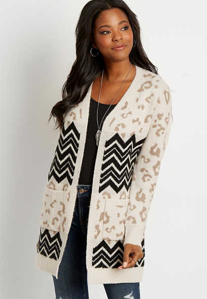 Chevron Leopard Open Front Pocket Cardigan