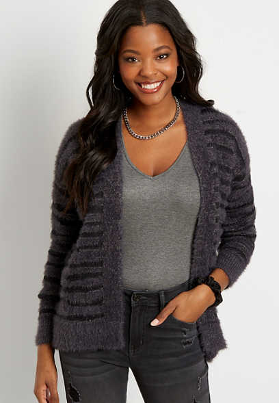 Metallic Zebra Cozy Open Front Cardigan