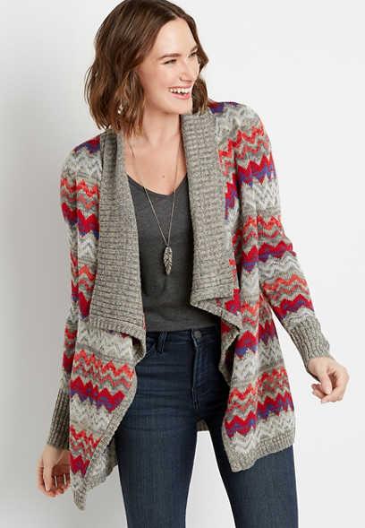 Red Chevron Open Front Waterfall Cardigan