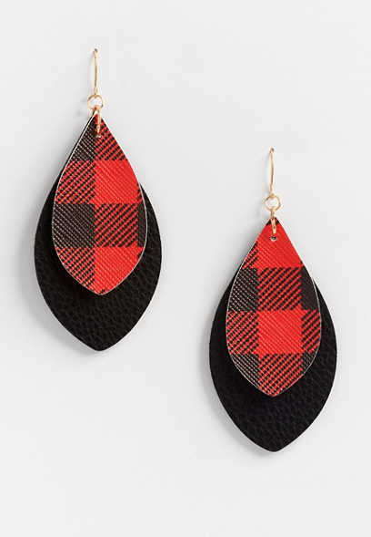 Buffalo Plaid Faux Leather Double Layer Drop Earrings