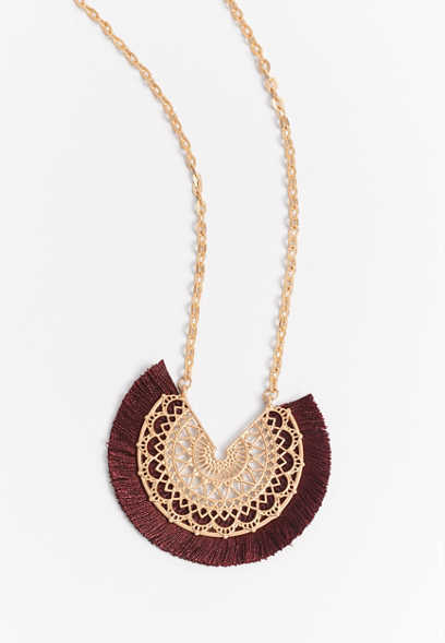 Burgundy Fan Pendant Necklace