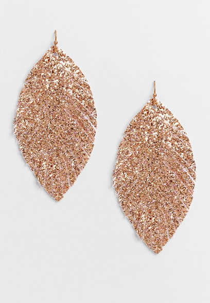 Gold Shimmer Feather Drop Earrings