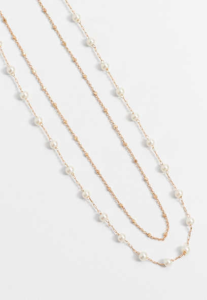 Double Row Pearl Drape Necklace