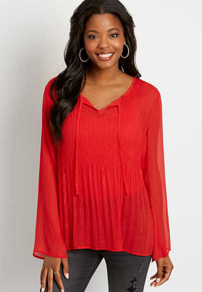 Metallic Pleated Tunic Blouse