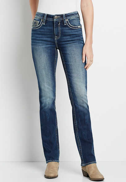 Vigoss® High Rise Dark Wash Thick Stitch Straight Leg Jean