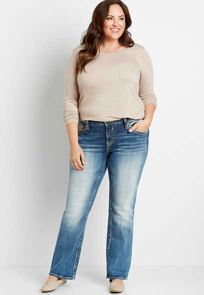 Plus Size Vigoss® Medium Tan Stitch Faux Flap Pocket Slim Boot Jean