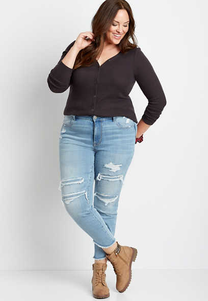 Plus Size DenimFlex™ High Rise Medium Back Destructed Scallop Hem Jegging