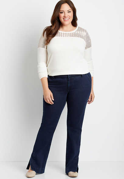Plus Size Dark Wide Waistband Trouser Jean