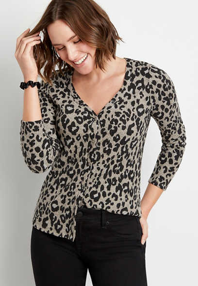 24/7 Leopard Cozy Snap Front Long Sleeve Tee