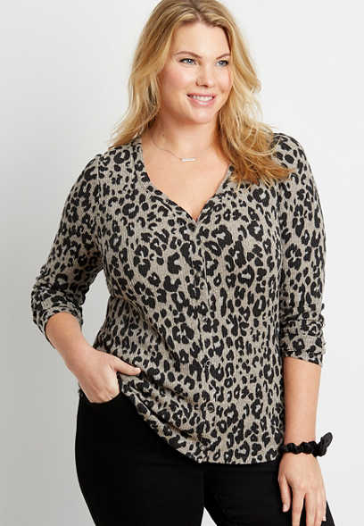 Plus Size 24/7 Leopard Cozy Snap Front Long Sleeve Tee
