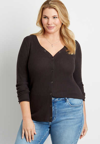 Plus Size 24/7 Solid Cozy Snap Front Long Sleeve Tee