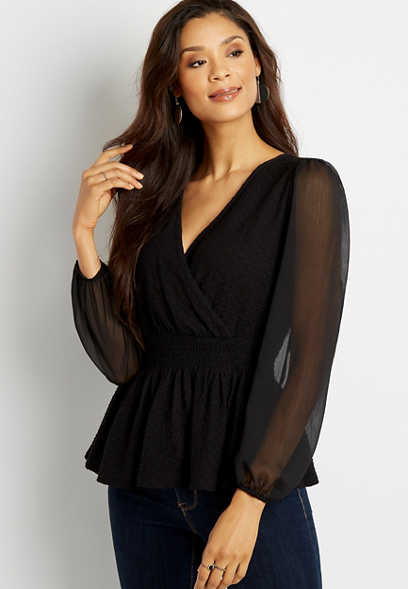 Black Smocked Waist Sheer Sleeve Top