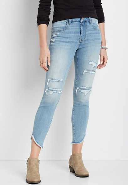 DenimFlex™ High Rise Medium Back Destructed Scallop Hem Jegging