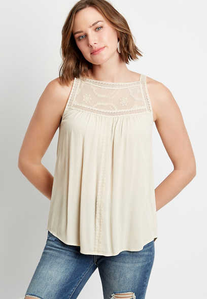 Solid Lace Trim High Neck Tank Top