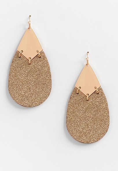 Gold Glitter Drop Earrings
