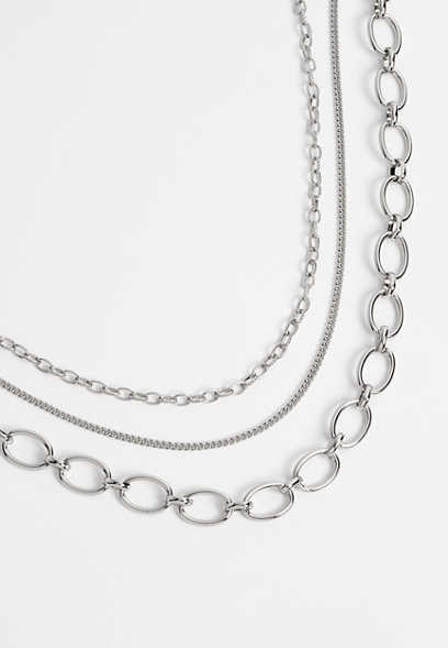 Silver 3 Row Mix Chain Layered Drape Necklace