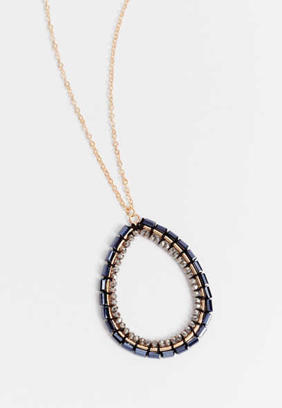 Gold Beaded Teardrop Pendant Necklace