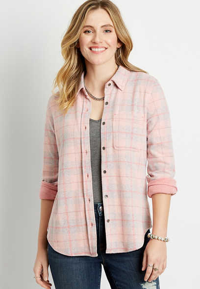 Pink Plaid Cozy Knit Flannel Button Down Shirt