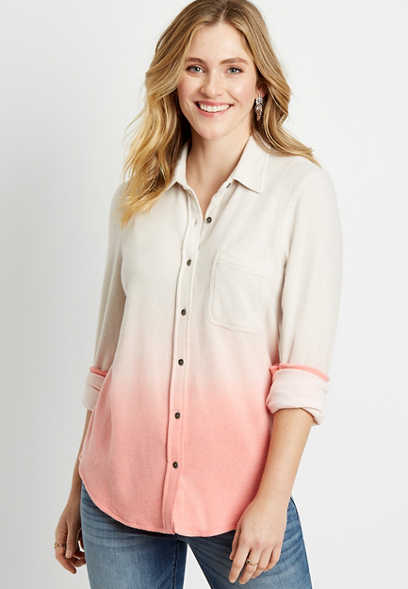 Coral Ombre Cozy Knit Flannel Button Down Shirt