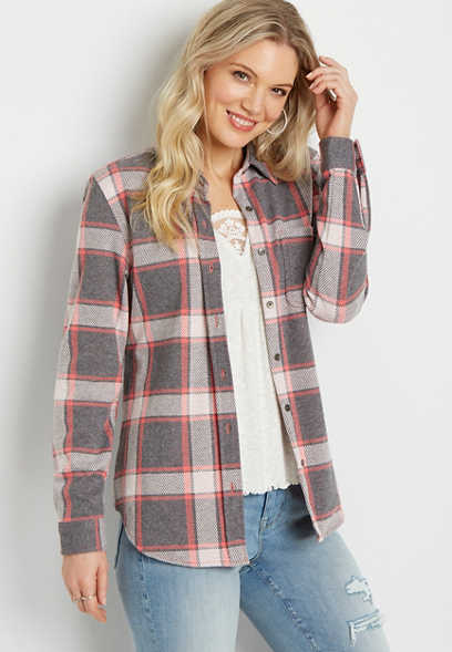 Gray Plaid Cozy Knit Flannel Button Down Shirt